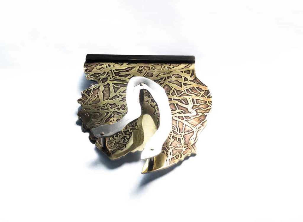 Helen Wyatt, Headland series 2016, 925 silver, brass, stainless steel, 7x5cms, photo: Helen Wyatt