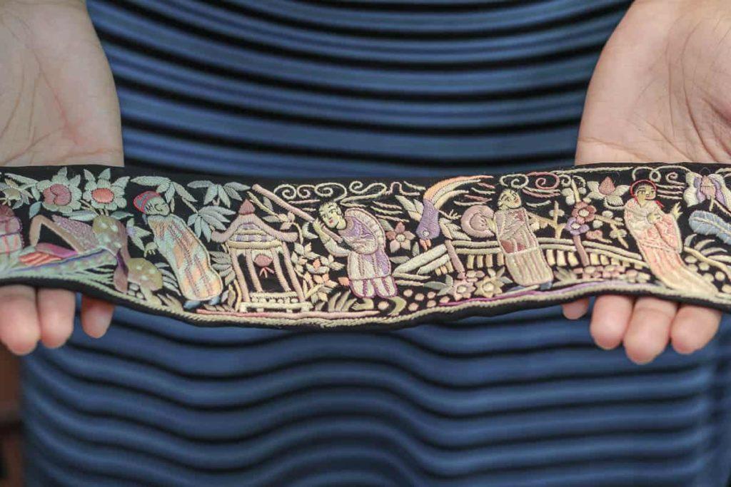 "Zenobia Davar, embroidered borders or ""KOR"", silk base fabric, silk skeins, satin stitch, motifs: Chinese, photo: dolly bhavsar photography"