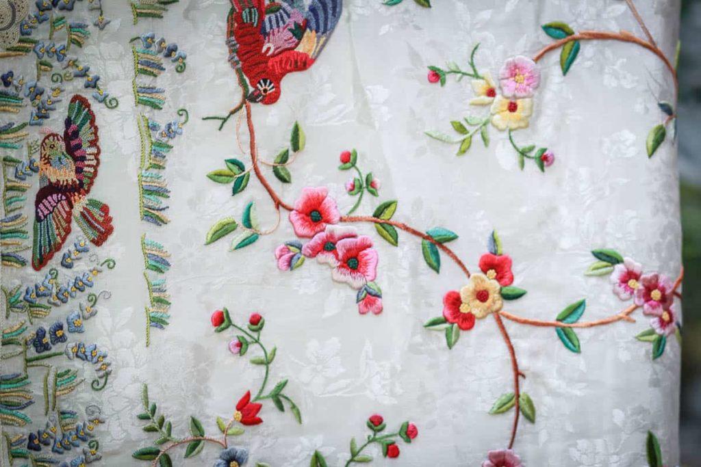 Zenobia Davar, parsi gara sari, Jacquard crepe , silk skeins, technique: french knots, stem and satin stitch, motifs: bees, butterfly, trees etc, photo: dolly bhavsar photography