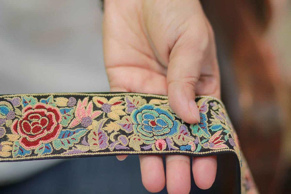 "Zenobia Davar, embroidered borders or ""KOR"", silk base fabric, silk skeins, technique: forbidden stitch, motifs: floral, photo: dolly bhavsar photography"