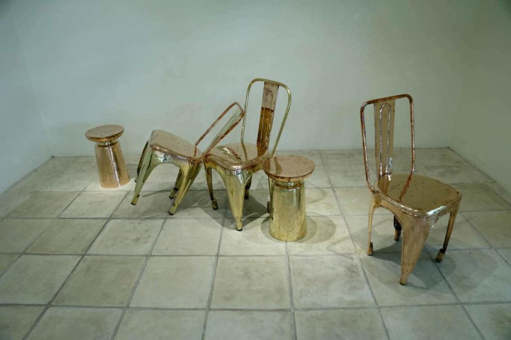 Arshad Faruqui, Musical chairs, 2016, copper and brass