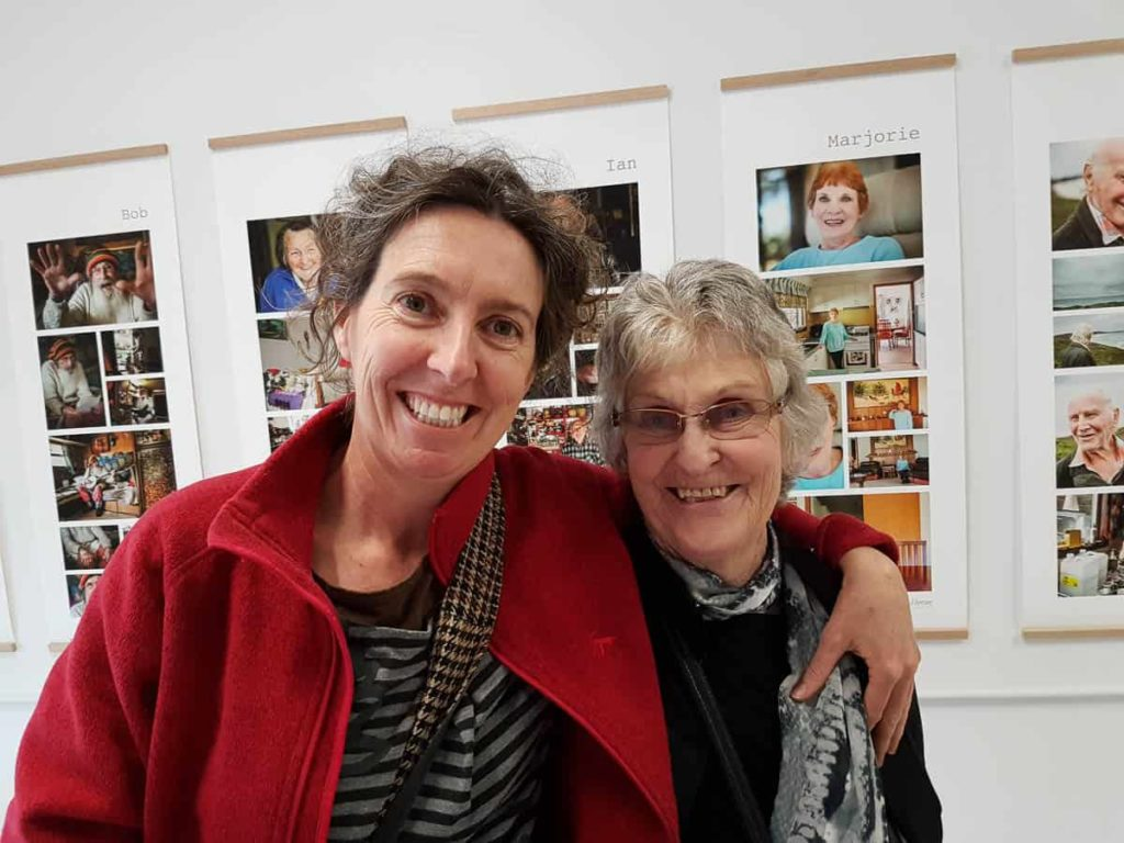 Cecile Williams with her mother at a photography exhibition by Nic Duncan featuring Denmark residents