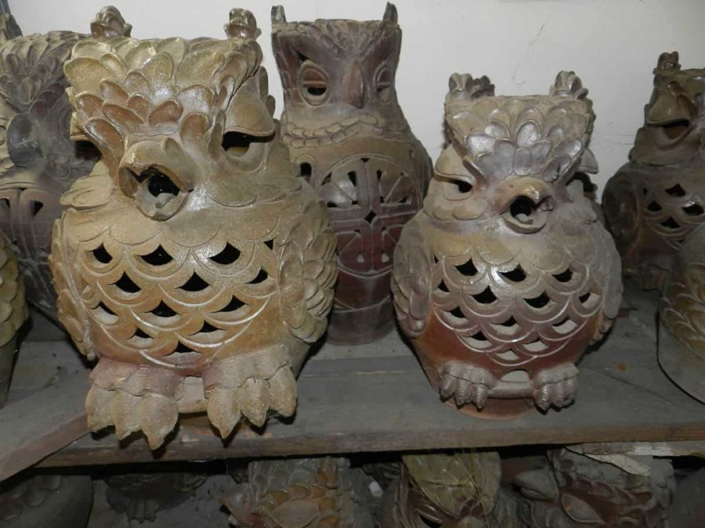 Fired owls with woodash surface