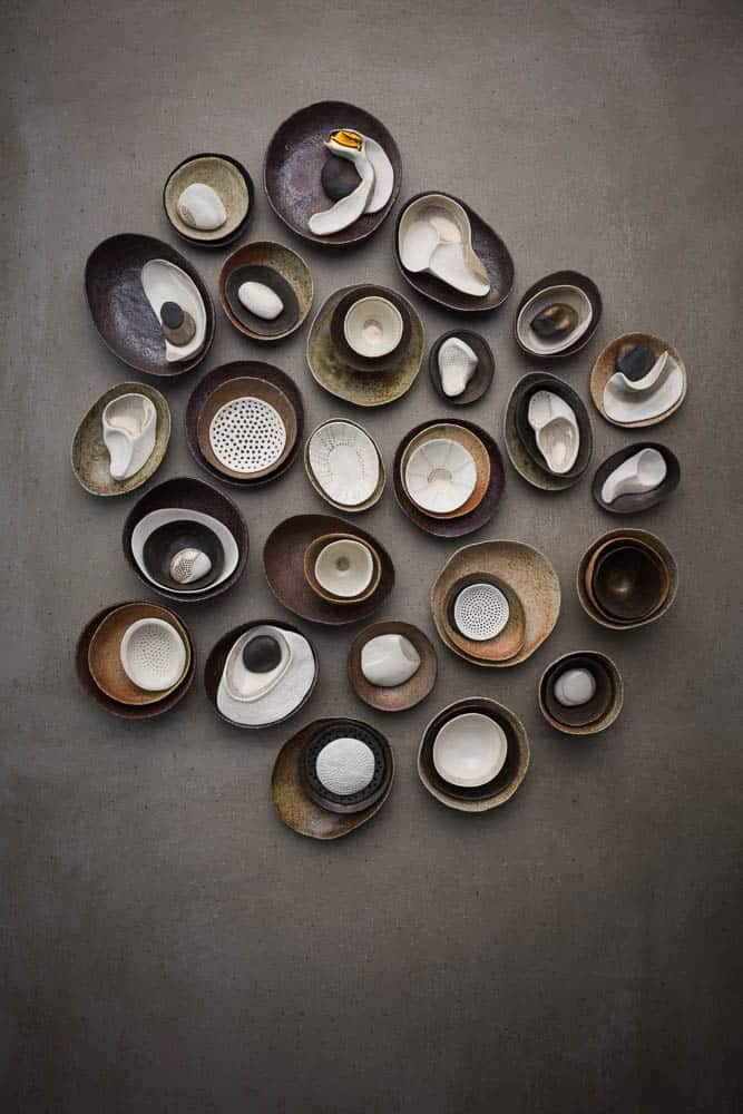 Vicki Grima, mixed clay pinch pots, photo: Greg Piper