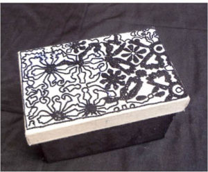 Storage box with traditional embroidery