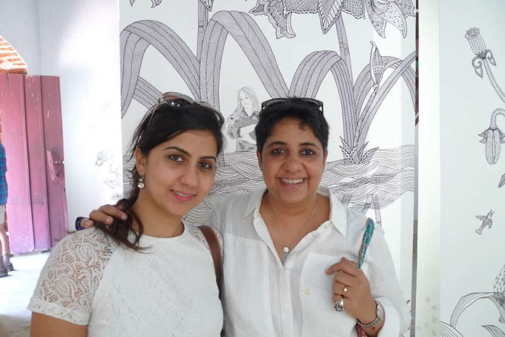 Installation image at OED	Gallery, with Indian artists Simrin Mehra-Agarwal and	Vibha Galholtra enjoying the work.