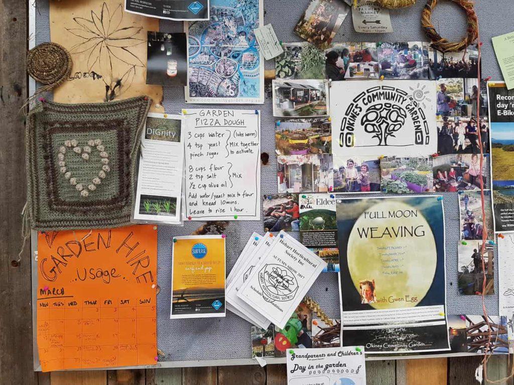 Okines Community Garden notice board, Dodges Ferry