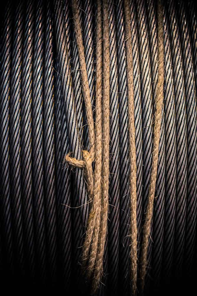 Detail of steel cable reel tied off with natural sisal rope from the Australian Wire Rope Works, Bridon-Bekaert The Ropes Group, Newcastle.