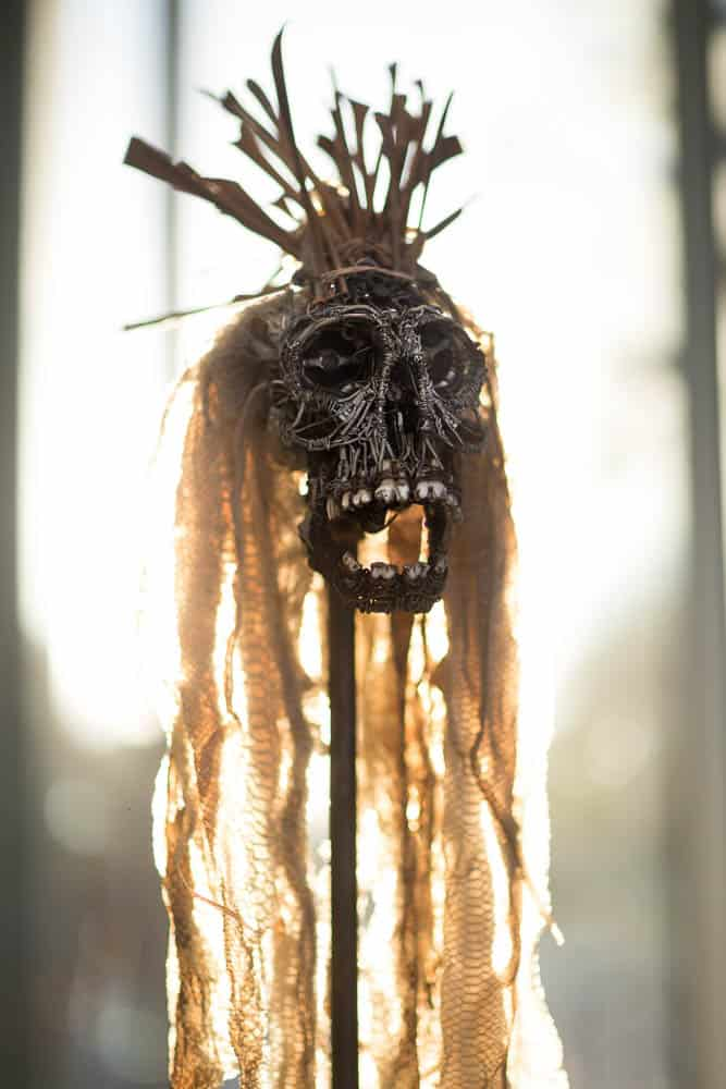 Untitled, artwork by Ben Graham, tattoo artist, recycled wires, plastic elements plus teeth and bones & shed snake skins.