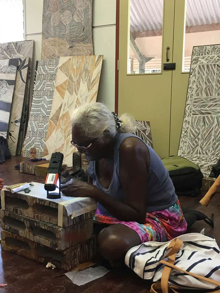 Dhuwarrwarr Marika creating her first pieces in lost wax
