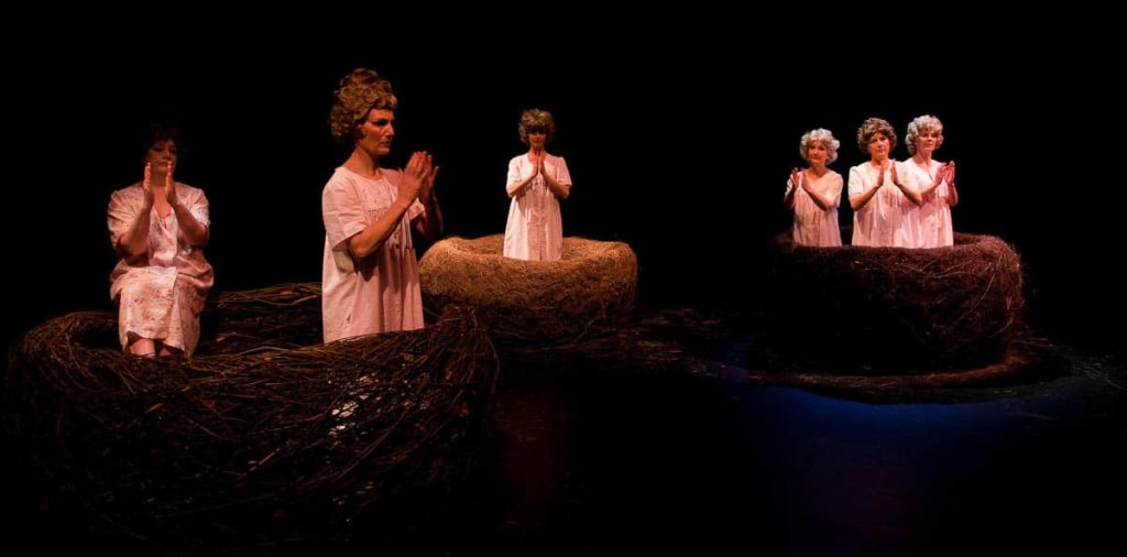 Gwen Egg nests for Birds dance performance by Glen Murray with MADE Mature Artists Dance Experience, 2011, image Terrence Mundy