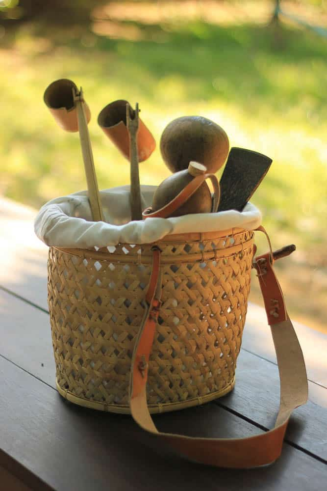 Dungki is basket for fisherman, kele is a bamboo cup and penyaludan is the liquor ladle.