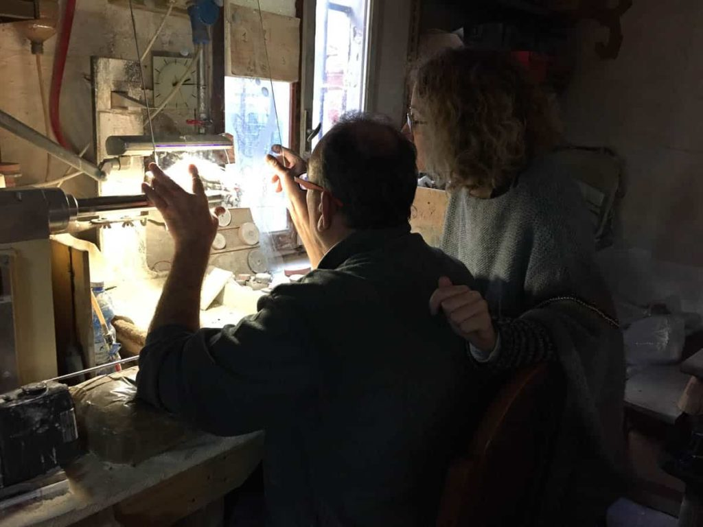 Maurizio Vidal and Francesca Giubilei (VeniceArtFactory) working on engravings of Rosslynd Piggott drawings at Ongaro e Fuga workshop, Murano, 2016.