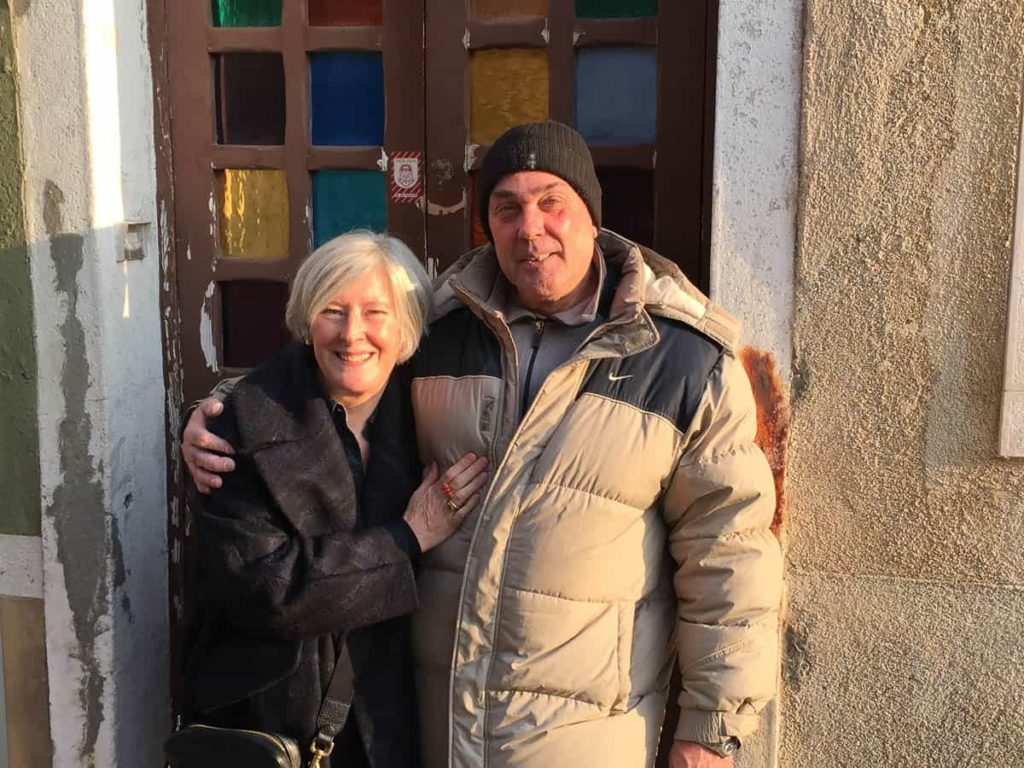 Rosslynd Piggott and Maurizio Vidal, end of a working day, outside Ongaro e Fuga workshop, Murano, Winter 2016