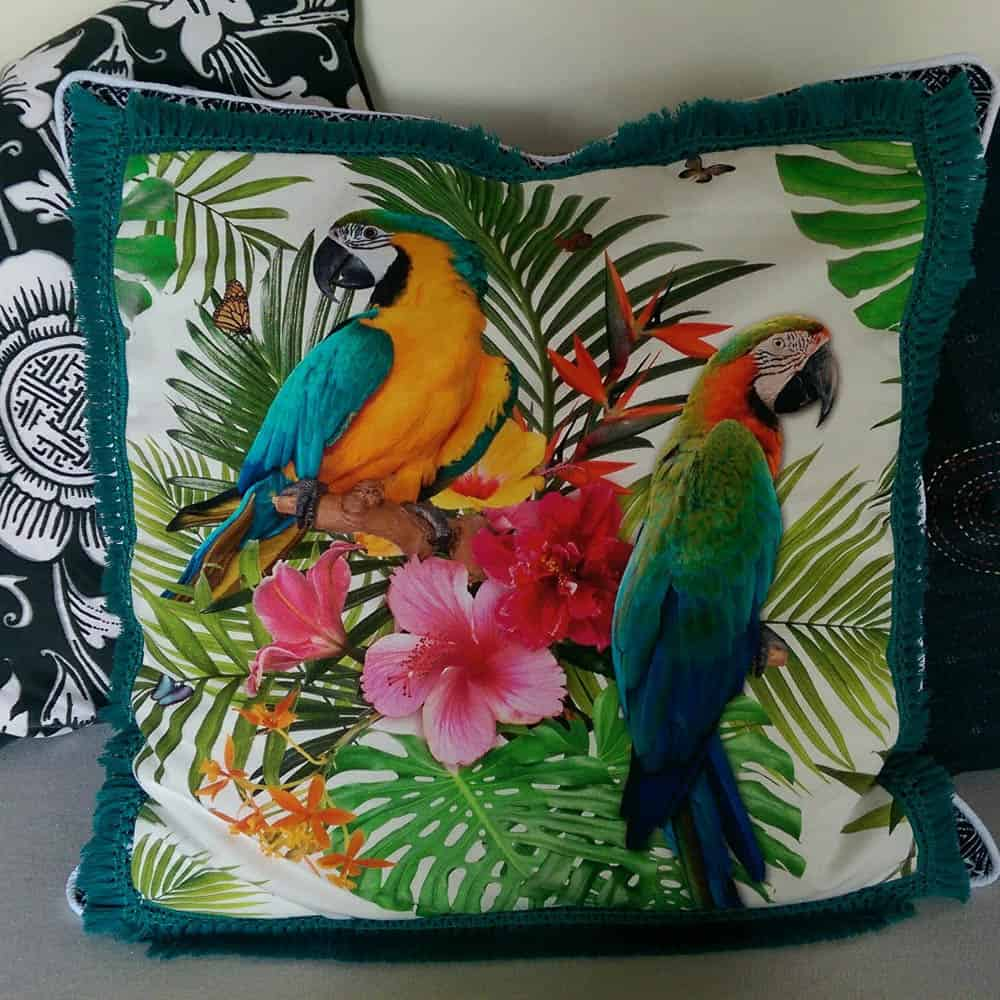 Cushion made from tea towel bought in sweden 2015 and made in Ubud with trims and fabrics bought in Denpasar