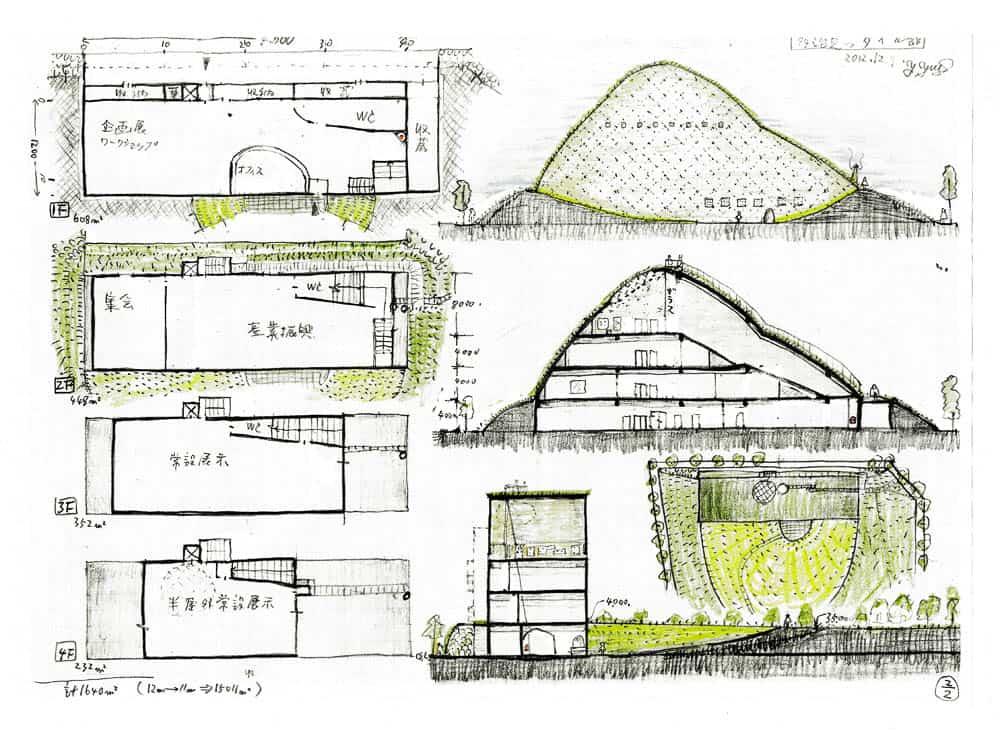 Drawing of the idea of the museum by Terunobu Fujimori