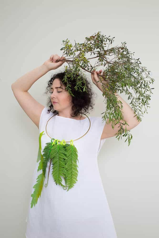 Lauren Simeoni, Fern lei, 2017, artificial foliage, metal ring, thread, paint; Fern dress, Short white Linen-cotton, hand-cut stencil print, one-off, photo: Craig Arnold