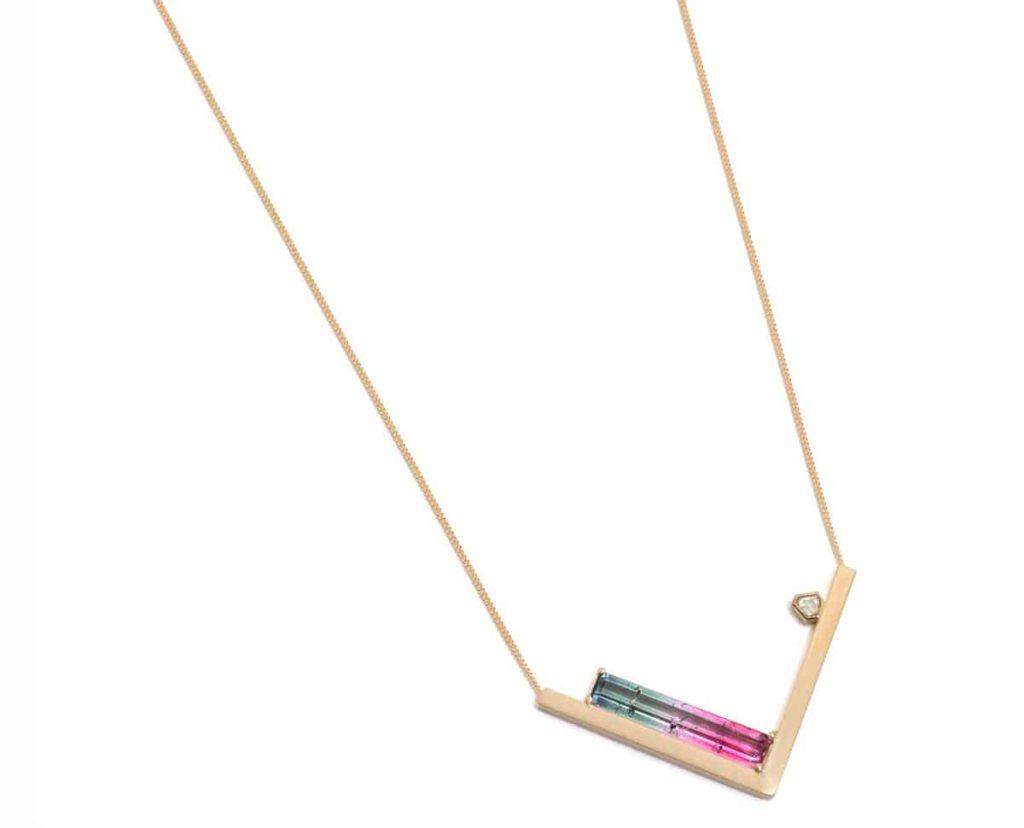 Melanie Katsalidis, right angle pendant, 2017, 9ct yellow gold, emerald cut watermelon tourmaline, free form rose cut white diamond, pendant 25 x 44 x 3mm on 45 cm chain