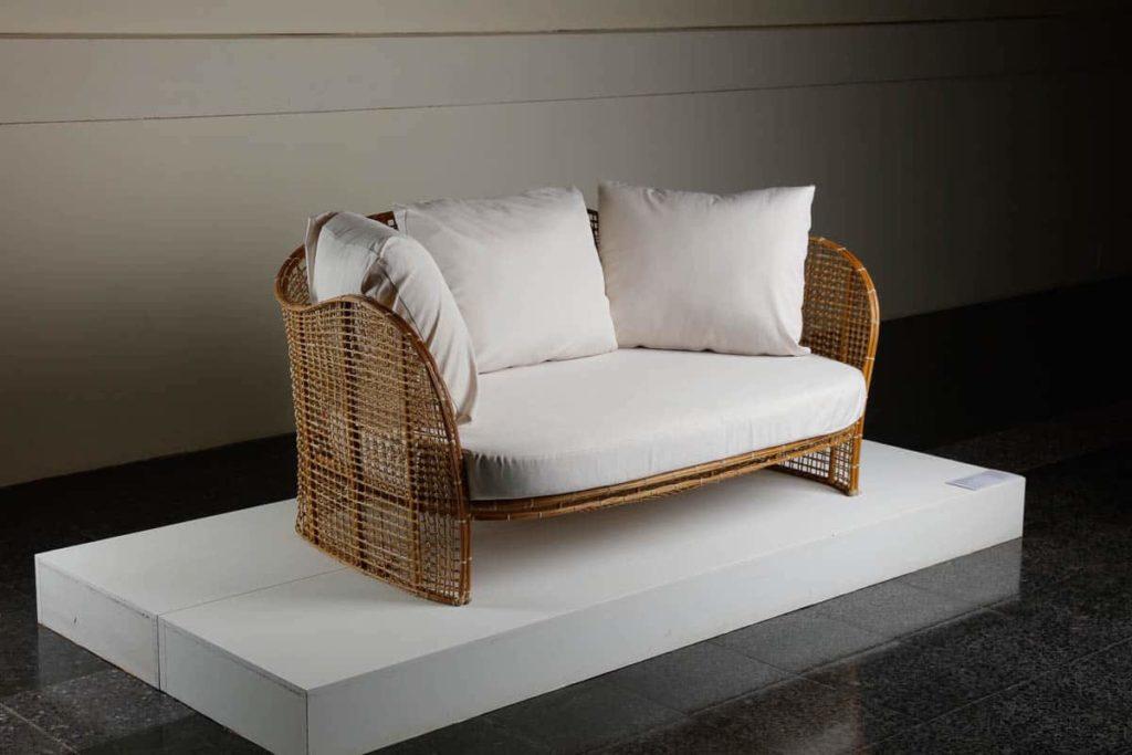 Korakot Aromdee (Thailand), 2016, Korakot Polka Dot Bamboo Love Seat, bamboo, cotton, Fabric, 135 x 700 x 90 cm