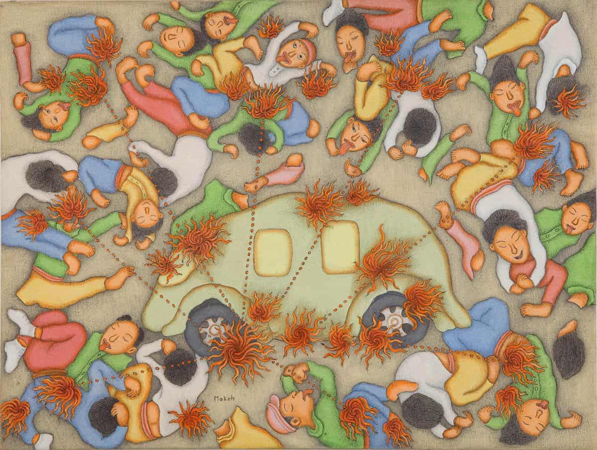 I Dewa Putu Mokoh, Bom Bali, 2006, Chinese ink and acrylic on canvas, 63 x 82cm (framed) Charles Darwin University Art Collection CDU2993.