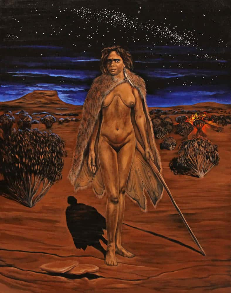 Julie Dowling, Warridah Melburra Ngupi, 2004, acrylic and red ochre on canvas, 150 x 120 cm, Cruthers Collection of Women's Art, The University of Western Australia, CCWA 777.