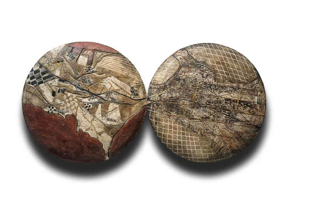Madhvi Subrahmanian, Mappa Mundi series,  2017, earthernware, smoke-fired terra sigillata and gold dust20 inches diameter each