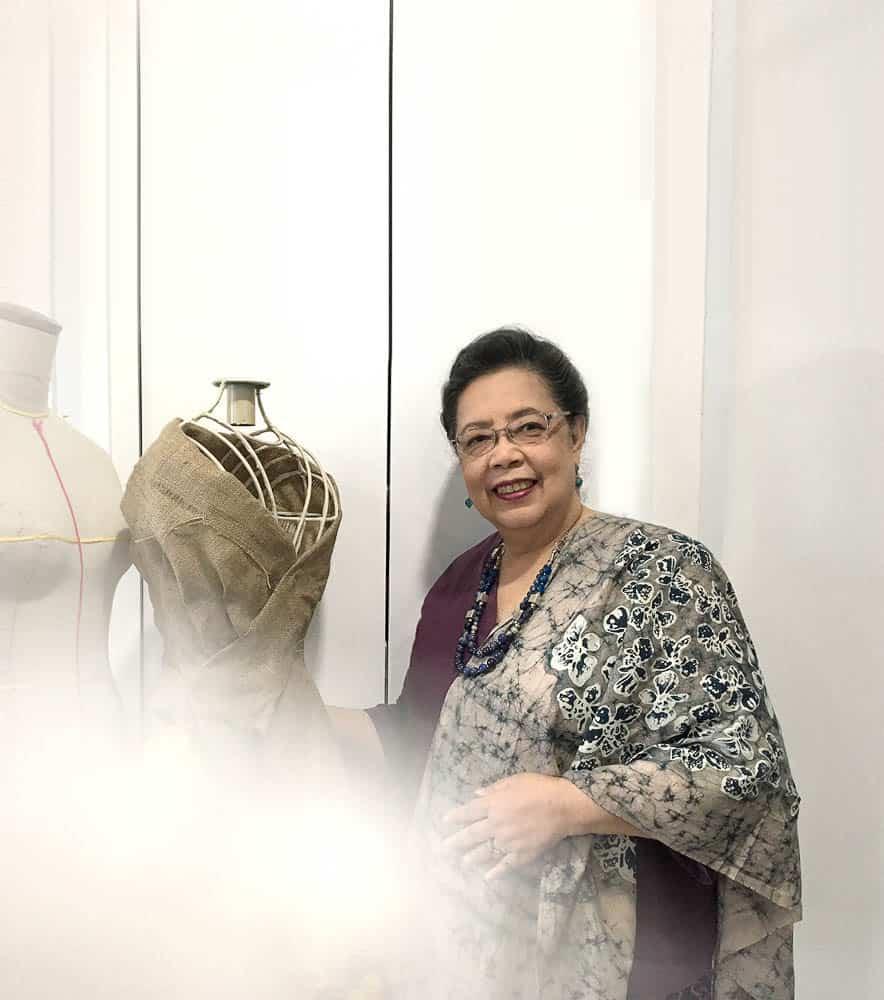 Ibu Aryani Widagdo in one of Melie Indarto's sustainable Indonesian textile