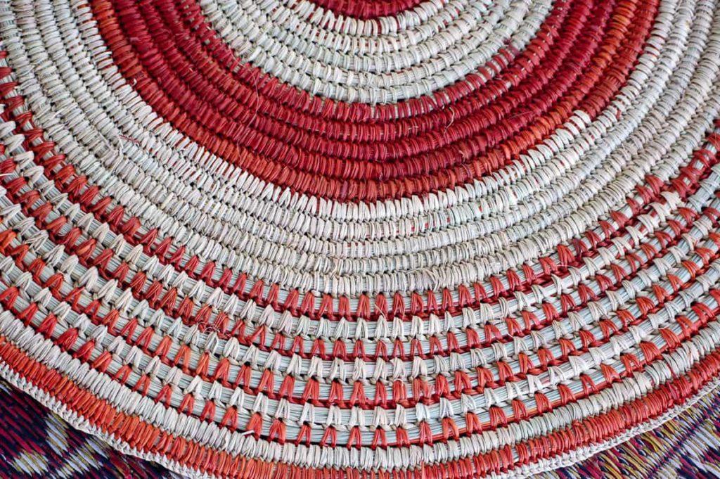 Batumbil Burrarwanga, mat with natural dyes, pandanus fibres and natural orange dyes