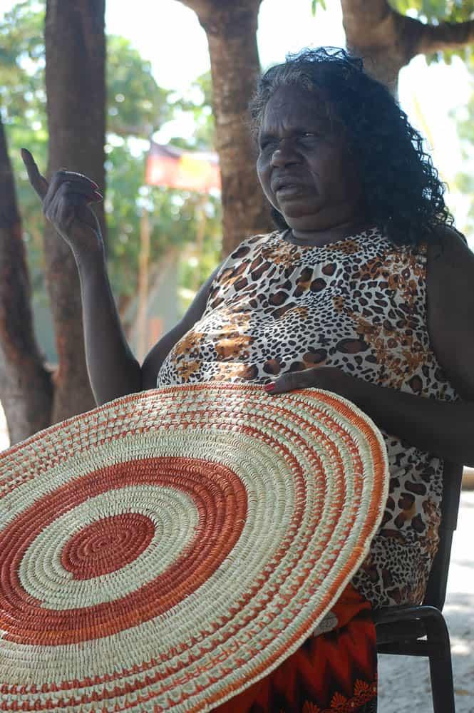 Batumbil Burarrwanga, the master weaver and one of her creations