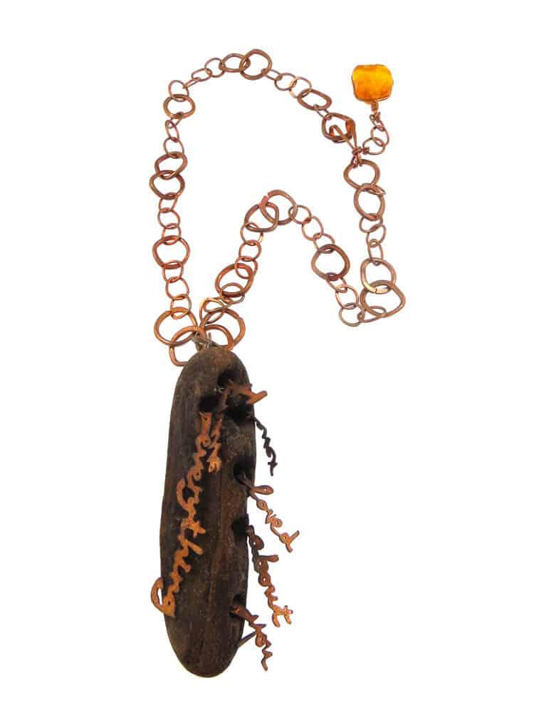 Lieta Marziali, Everything I've Ever Loved About You.JPG: Lieta Marziali, Everything I've Ever Loved About You, 2013, driftwood, amber, copper, 44 x 4 x 2.5 cm, photo: Lieta Marziali