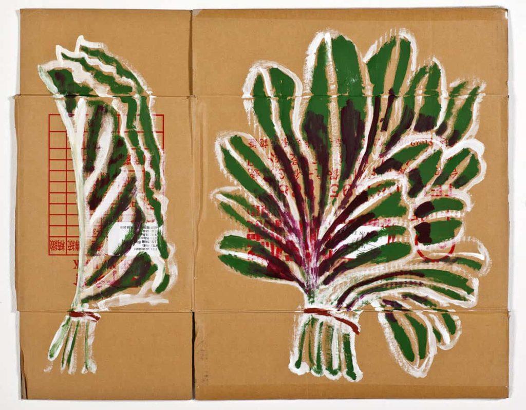 Stephanie Radok, Amaranth and Perilla leaves, 2018, acrylic paint, found cardboard box, 72 x 90 cm, photo: Michal Kluvanek