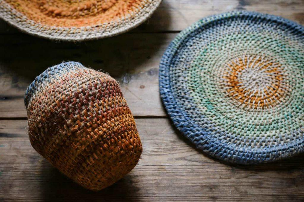 Siân Boucherd, Earth Sky Vase [14x11cm], RockPool Plate [26x26cm] and EarthRust Dish [6x30x30cm], 2016, hand dyed jute, hemp, linen, raffia and wool