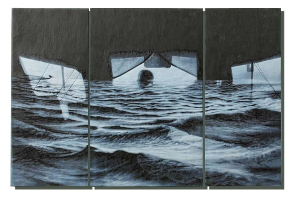 April Surgent, In the end it was the sea., 2017, cameo engraved glass, 15 × 22.75 × .75 inches