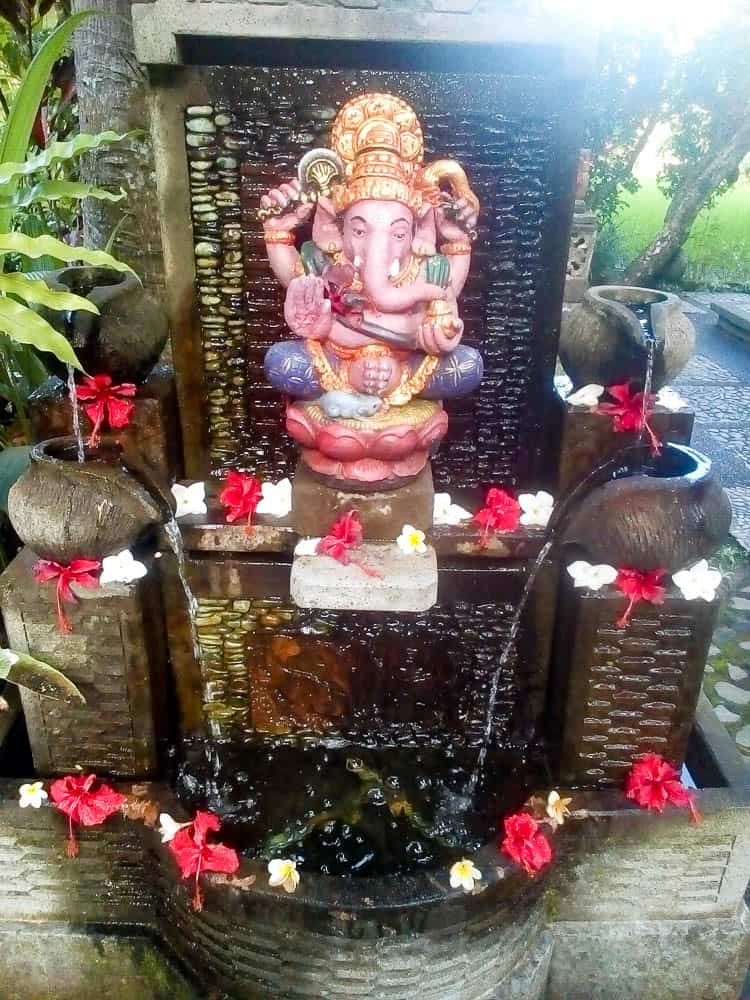 Water Feature with Flora and Fauna and Ganesha Nyuh Kuning, Bali, Photograph: Mary Lou Pavlovic 2018.