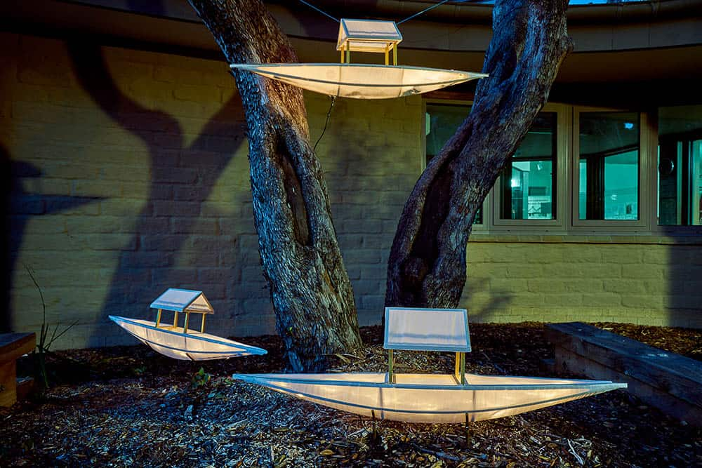 Tammy Wong Hulbert (in collaboration with the St Andrews Community), The Anonymous Sojourners in the Australian Bush (installed at Wadambuk, St Andrews), 2017, wood, silk, paper, LED lights, 80 x 40 x 25cm, photo: Shane Hulbert
