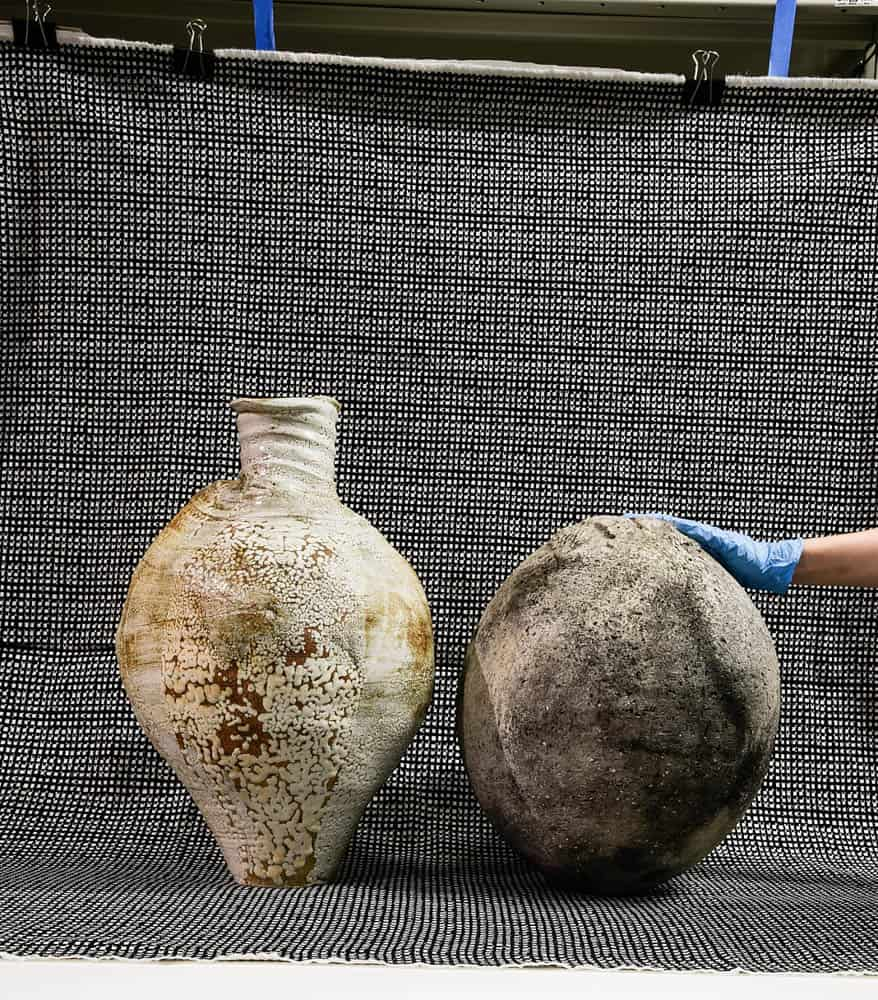Meredith Turnbull, (Greg Daly, No title (stoneware form), stoneware, 1977 and Joan Campbell, No title (spherical vessel), low fired earthenware, 1971), archival pigment print on paper, 2018
