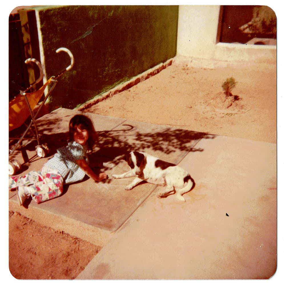 E Marruffo, childhood photo with her dog Corazon, Agua Prieta, 1978