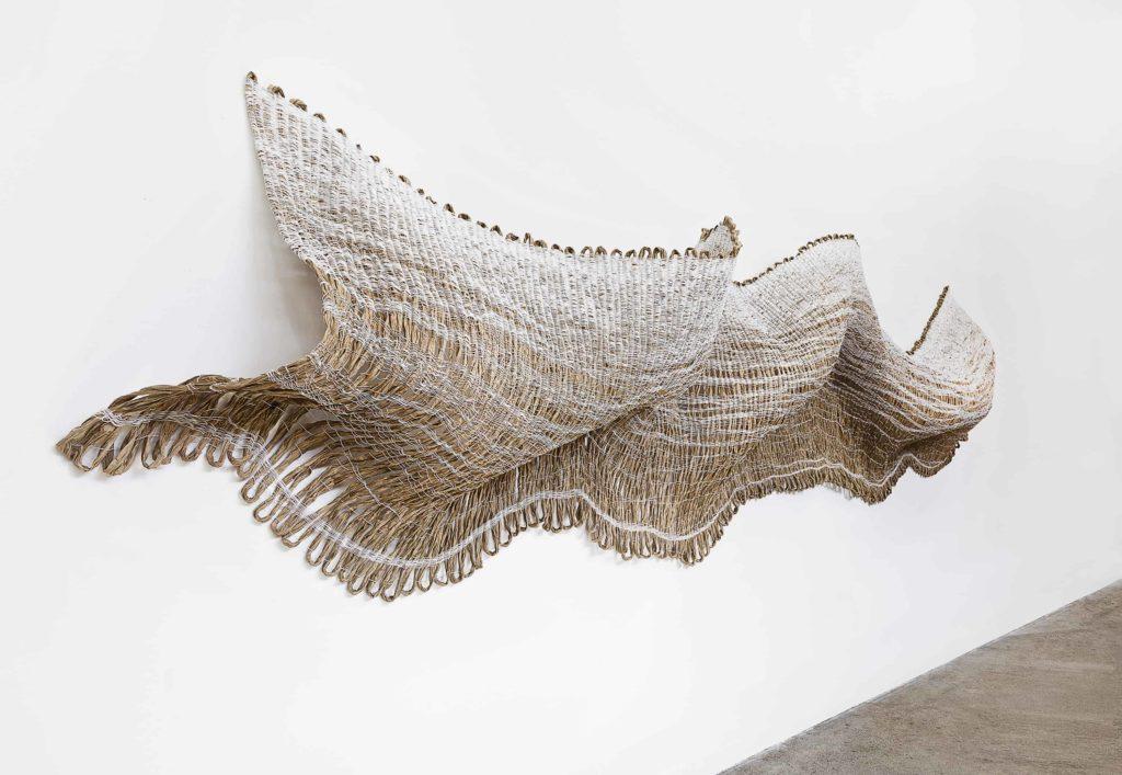 Mimi  JungKorea  born  1981,  arrived  United  States  1989Fallen  fence, 2018, polycord,  paper, Image courtesy  of Mimi Jung studio