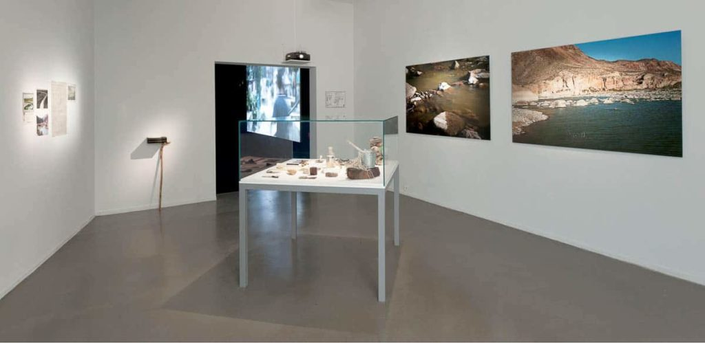 Installation view of Crossing the Rio Bravo in the 2011 exhibit, Resisting the Present at Musée d' art moderne de la Ville de Paris-ARC (Paris, France). Courtesy of Minerva Cuevas & kurimanzutto.
