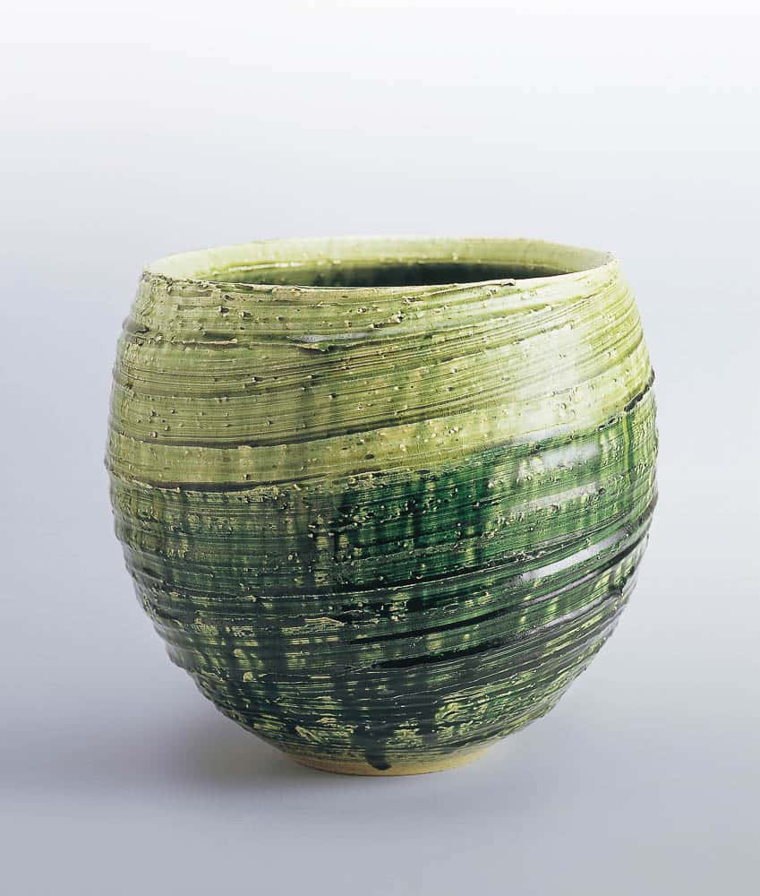 Tetsu Suzuki,Flower vessel with green glaze