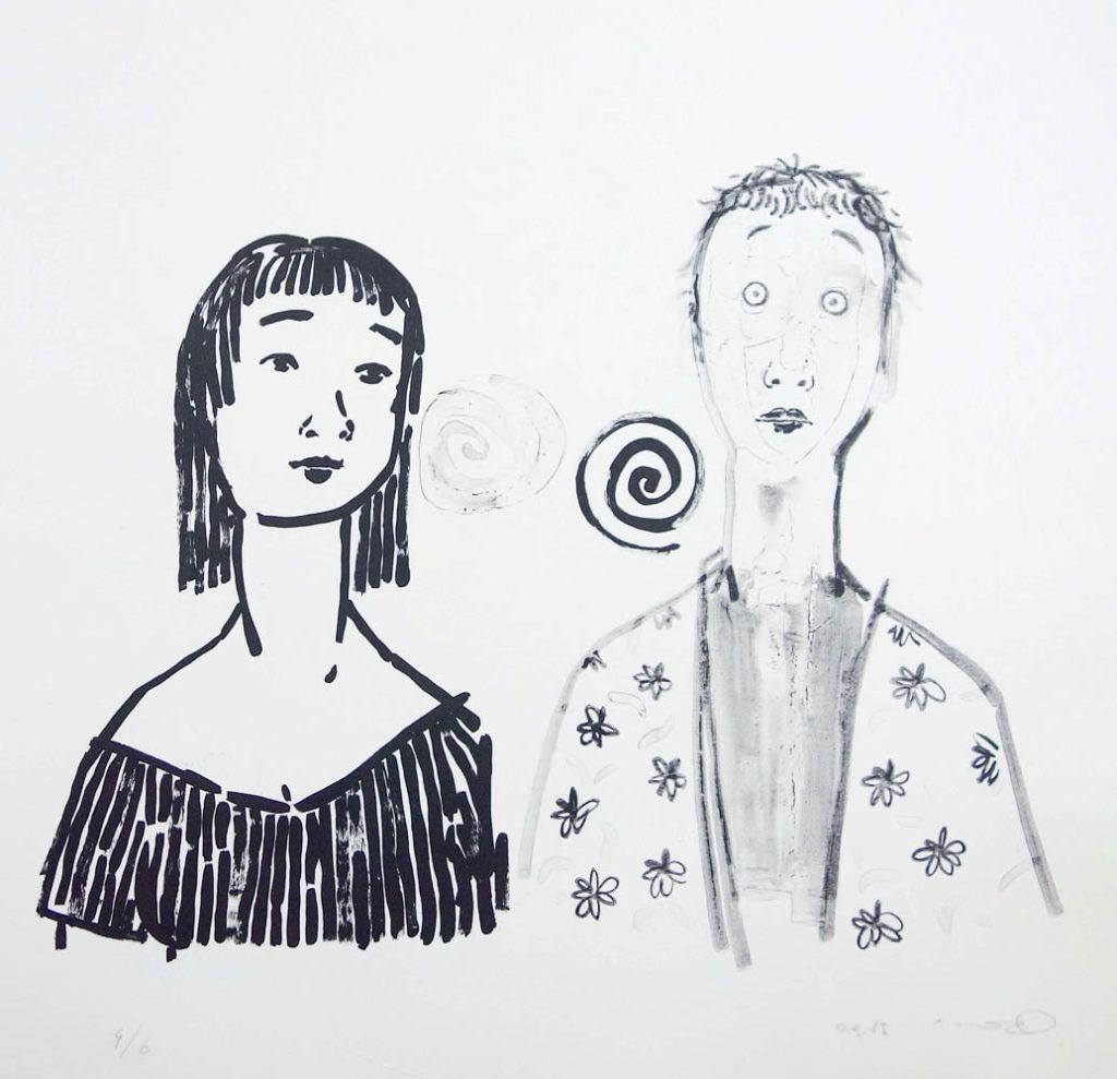 Seiichiro Miida, Short Story GuruguruLithograph, 2015Chinese paper, 68x68cm / Edition of 8Printed by Satoru Itazu at Itazu Litho-Grafik