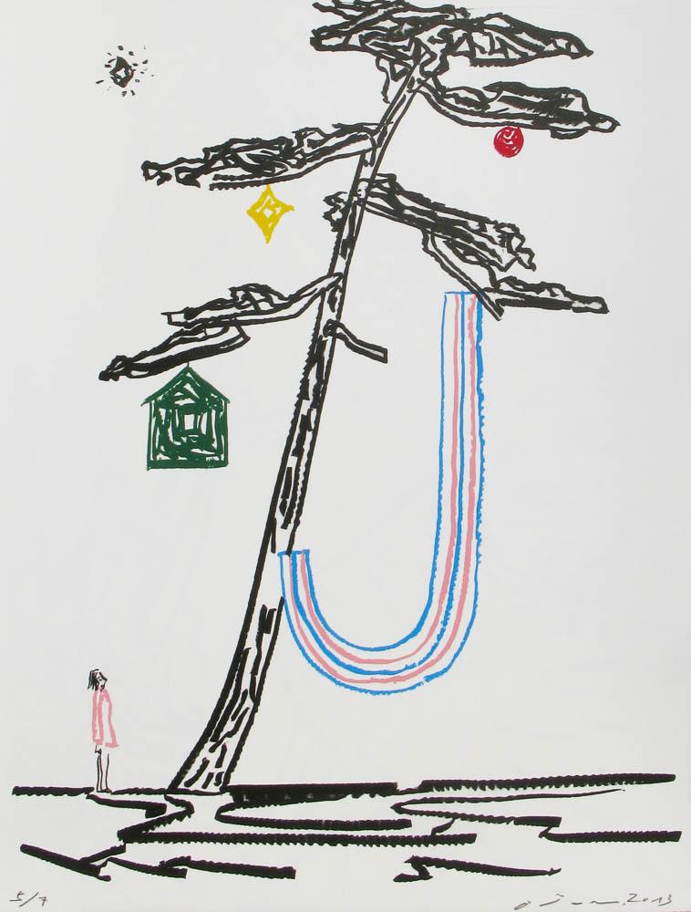 O Jun, from the portfolio Into the River (Kawa ni Hairu) Lithograph, 2013-14 Izumi paper, 62x47cm / Edition of 7 Printed by Satoru Itazu at Itazu Litho-Grafik
