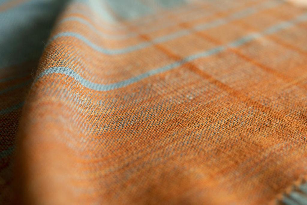 Detail of the finished Kanazawa cloth weaving created with indigo and eucalyptus dyed yarn. Image credit: Siri Hayes