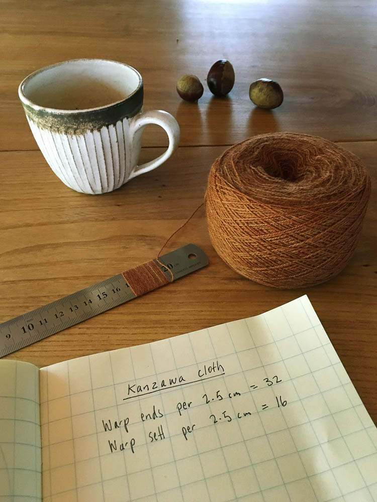Calculating how many threads per inch for the warp. Image credit: Siri Hayes