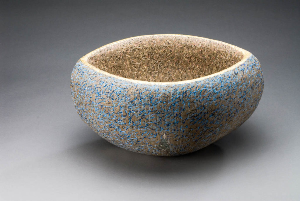 Many Wishes water vessel- square  stoneware, colour inlay gold leaf   30 x 45x 41cm  2010
