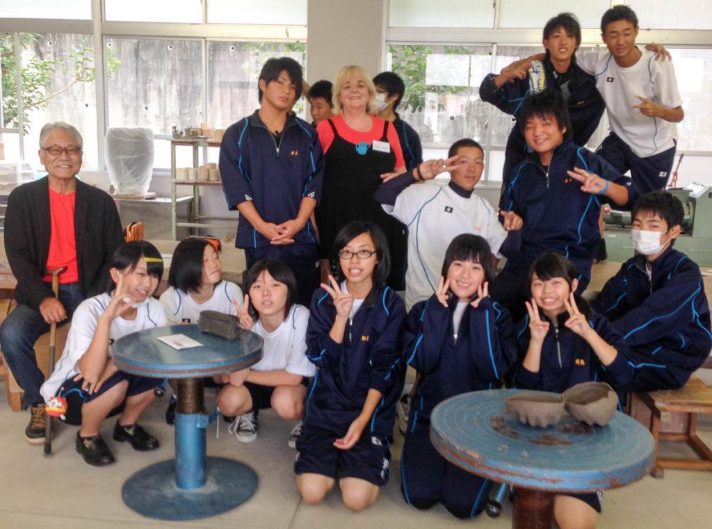 Otani Shiro and Merran Esson with students at Shigaraki High School 2014