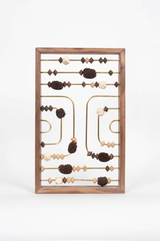 Wanda Gillespie, Higher Consciousness Integrating Calculator (with Sheoak) 3, 2018. Walnut, brass, wooden beads, Sheoak, resin, wax, 21 x 33.5 x 3 cm