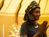 Kultur-All Makaan is a wondrous tent for bringing together refugee cultures of Central Victoria, including the Sudanese singer Dabora Dout whose beads welcome visitors.